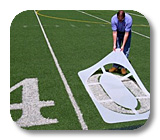 Stencils and equipment for  fields, airports, roads and pavement.
